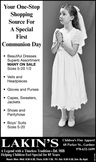 Your One-Stop Shopping Source For A Special First Communion Day