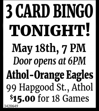 3 Card Bingo Tonight!