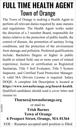 Full Time Health Agent