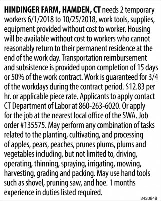 Needs 2 Temporary Workers