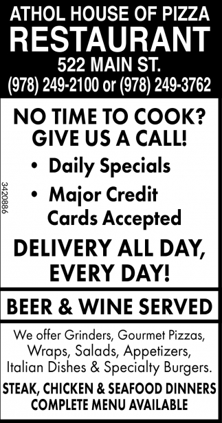 No Time To Cook? Give Us A Call!