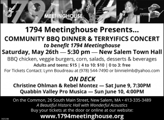 Community BBQ Dinner And Terryfics Concert