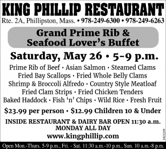 Grand Prime Rib And Seafood Lover's Buffet