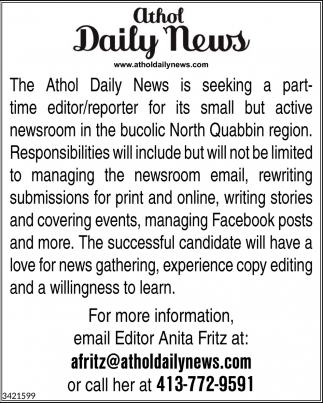 For More Information, Email Editor Anita Fritz, Athol Daily News