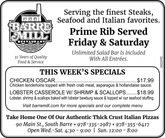 Prime Rib Served Friday And Saturday