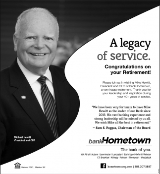 A Legacy Of Service.