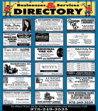 Businesses And Services Directory, Athol Daily News