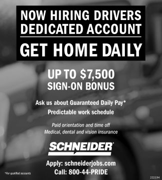 Now Hiring Drivers Dedicated Account