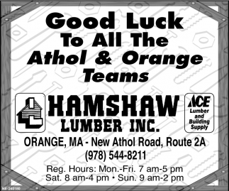 Good Luck To All The Athol & Orange Teams