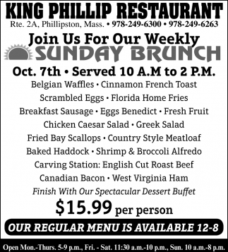 Join Us For Our Weekley Sunday Brunch