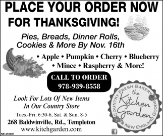 Place Your Order Now For Thanksgiving!