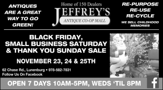 Black Friday, Small Business Saturday & Thank You Sunday Sale