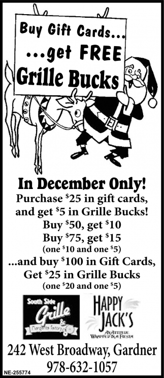 Buy Gift Cards... Get Free Grille Bucks
