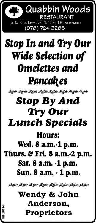 Stop In And Try Our Wide Selection Of Omelettes And Pancakes
