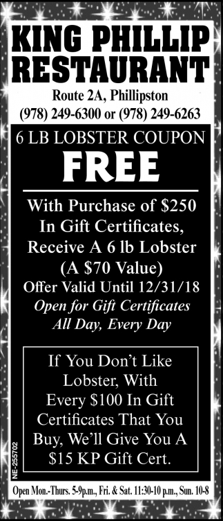 6 LB Lobster Coupon Free