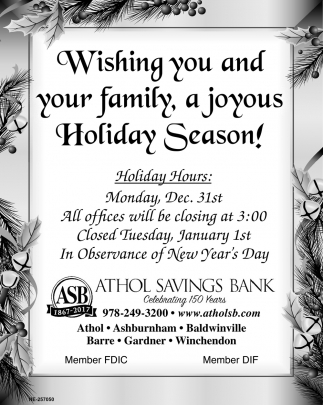 Wishing You And Your Family, A Joyous Holiday Season!