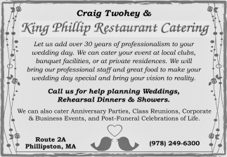 Call Us For Help Planning Weddings, Rehearsal Dinners & Showers.