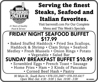 Serving The Finest Steaks, Seafood And Italian Favorites.