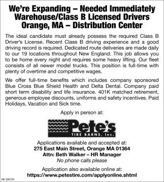 We Are Expanding - Need Immediately Warehouse/Class B Licensed Drivers