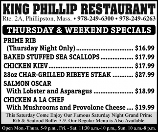 Thursday & Weekend Specials