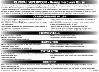Clinical Supervisor Needed